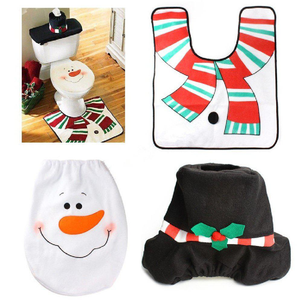 Yeduo 1 Sets Christmas Decorations Xmas Toilet Seat Cover Rug Washroom SSnowman Decorative  Lids CoversHOME<br><br>Color: MULTI; Material: Nonwoven; For: All;