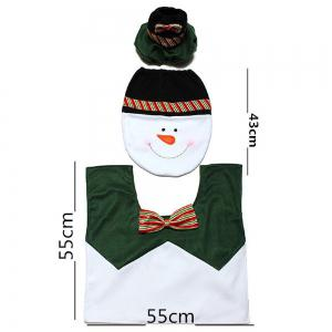 Yeduo 1 Sets Happy Snowman Christmas Bathroom Set Toilet Seat Cover Rug Xmas Decoration Year Decorations