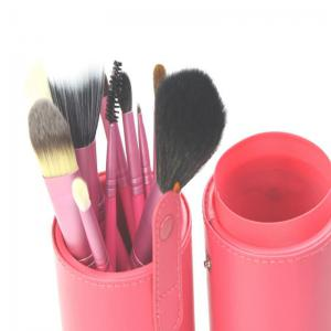 Todo 12X professional Makeup Brush with Cup Holder Case - ROSE RED