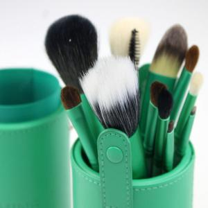 Todo 12X professional Makeup Brush with Cup Holder Case - GREEN