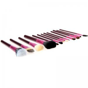 Todo 12X professional Makeup Brush with Cup Holder Case - PURPLE RED