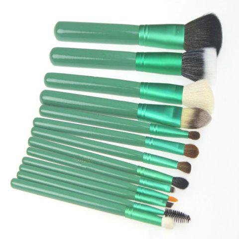 Affordable Todo 12X professional Makeup Brush with Cup Holder Case GREEN