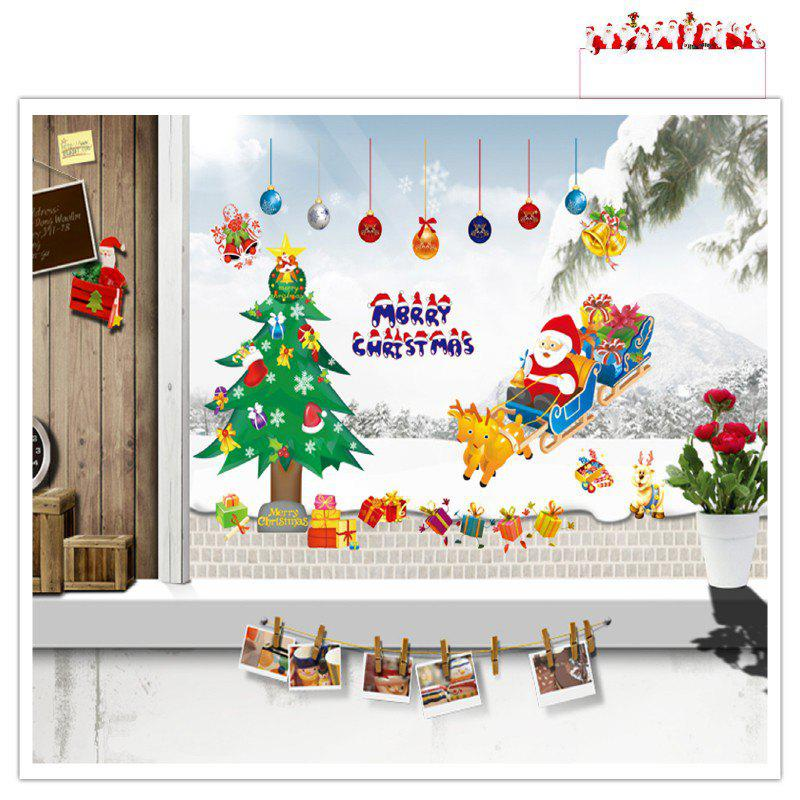 Santa Claus Christmas Tree for Window Glass Can DIY Wall StickerHOME<br><br>Size: 50 X 70CM; Color: MIXED COLOR; Brand: DSU; Type: Plane Wall Sticker; Subjects: Cartoon,Christmas,Landscape,Leisure,Letter; Color Scheme: Others; Function: Decorative Wall Sticker; Material: Self-adhesive Plastic; Suitable Space: Bedroom,Boys Room,Game Room,Girls Room,Kids Room,Living Room,Study Room / Office; Layout Size (L x W): 50 x 70cm; Effect Size (L x W): 120 x 80cm; Quantity: 1;