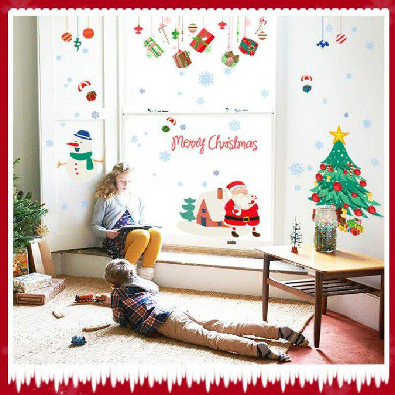 Happy New Years Window Santa Claus Cristmas Tree Wall StickersHOME<br><br>Size: 60 X 90CM; Color: MIX COLOR; Brand: DSU; Type: Plane Wall Sticker; Subjects: Cartoon,Christmas,Cute,Holiday,Leisure,Letter; Color Scheme: Others; Function: Decorative Wall Sticker; Material: Self-adhesive Plastic; Suitable Space: Boys Room,Game Room,Girls Room,Hotel,Kids Room,Kids Room,Living Room; Layout Size (L x W): 60 x 90cm; Effect Size (L x W): 88 x 150cm; Quantity: 1;