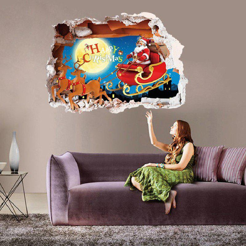Christmas 3D Fake Window Santa Claus Driver Deer Xmas Home DecorHOME<br><br>Size: 50 X 70CM; Color: MIXED COLOR; Brand: DSU; Type: Plane Wall Sticker; Subjects: Cartoon,Christmas,Holiday,Letter; Color Scheme: Others; Function: Decorative Wall Sticker; Material: Self-adhesive Plastic; Suitable Space: Game Room,Hotel,Kids Room,Kids Room,Living Room; Layout Size (L x W): 48 x 68cm; Effect Size (L x W): 50 x 70cm; Quantity: 1;