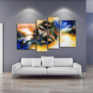 Yhhp Hand Painted Oil Painting Abstract 4 Piece/Set Wall Art with Stretched Framed Ready To Hang -