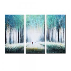 Yhhp Hand Painted Oil Painting Abstract Early Morning Footpath 3 Piece/Set Wall Art with Stretched Framed Ready To Hang -