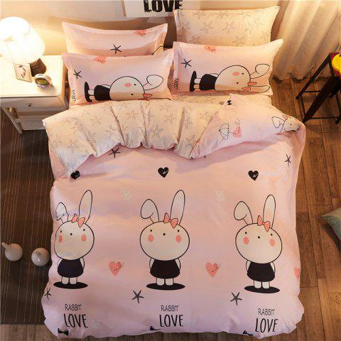 Hot Dyy 4PCS Fashion Design Bedding Set Pillowcase Bed Sheet Quilt Cover Y2017.1.8 PINK