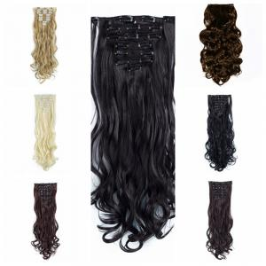 TODO 24inch Wig Curly Single Style 8-piece 18-clip Hair Extensions - BLACK BROWN 24INCH