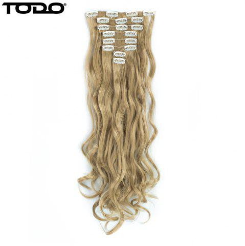 Unique TODO 24inch Wig Curly Single Style 8-piece 18-clip Hair Extensions BLONDE MIXED 613/27# 24INCH