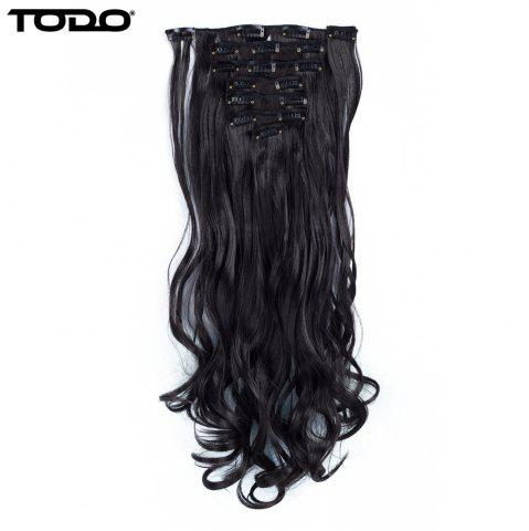 Affordable TODO 24inch Wig Curly Single Style 8-piece 18-clip Hair Extensions - 24INCH BLACK BROWN Mobile