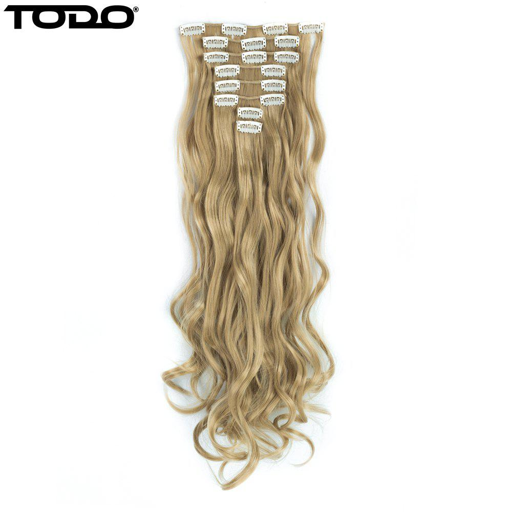 TODO 24inch Wig Curly Single Style 8-piece 18-clip Hair ExtensionsHAIR<br><br>Size: 24INCH; Color: BLONDE MIXED 613/27#;