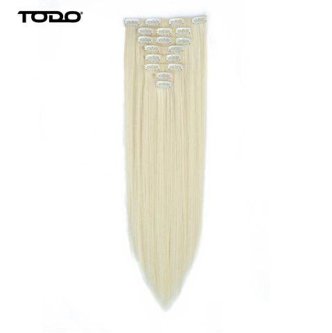 New Todo Straight Wig 8-piece 18-clip Hair Extension - 22INCH BLONDE #613 Mobile