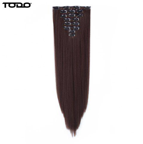 Hot Todo Straight Wig 8-piece 18-clip Hair Extension - 22INCH MEDIUM BROWN Mobile