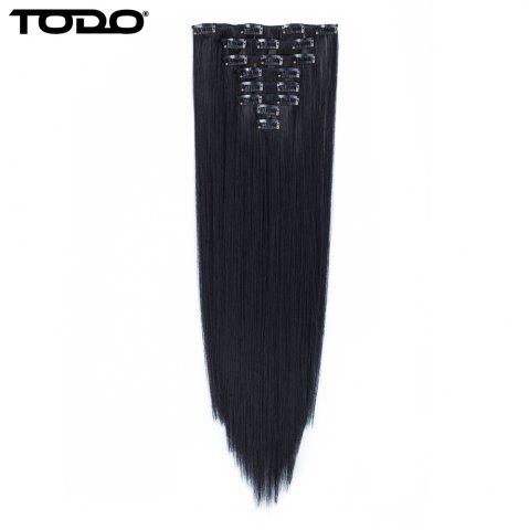 New Todo Straight Wig 8-piece 18-clip Hair Extension BLACK BROWN 22INCH