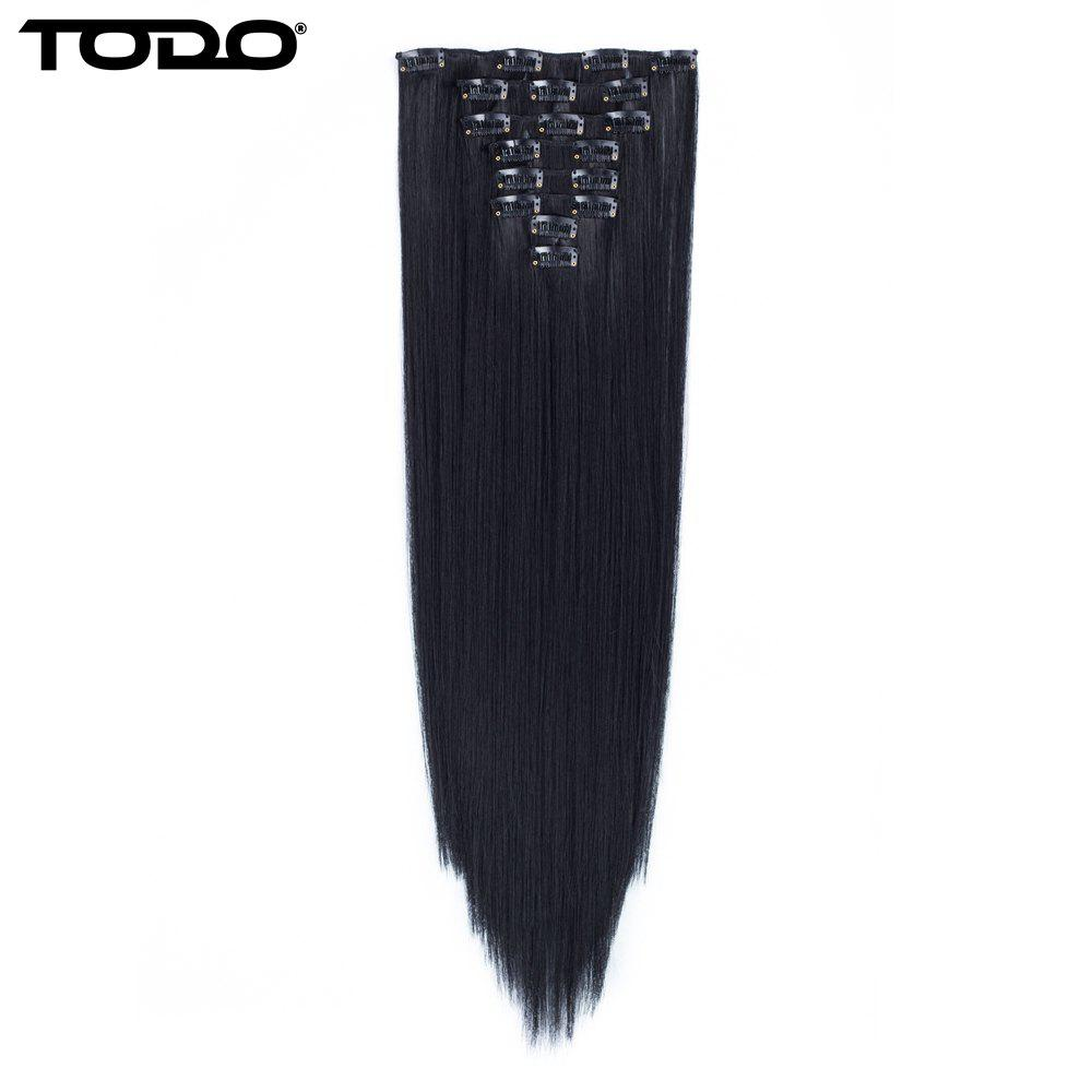 Todo Straight Wig 8-piece 18-clip Hair ExtensionHAIR<br><br>Size: 22INCH; Color: BLACK BROWN;