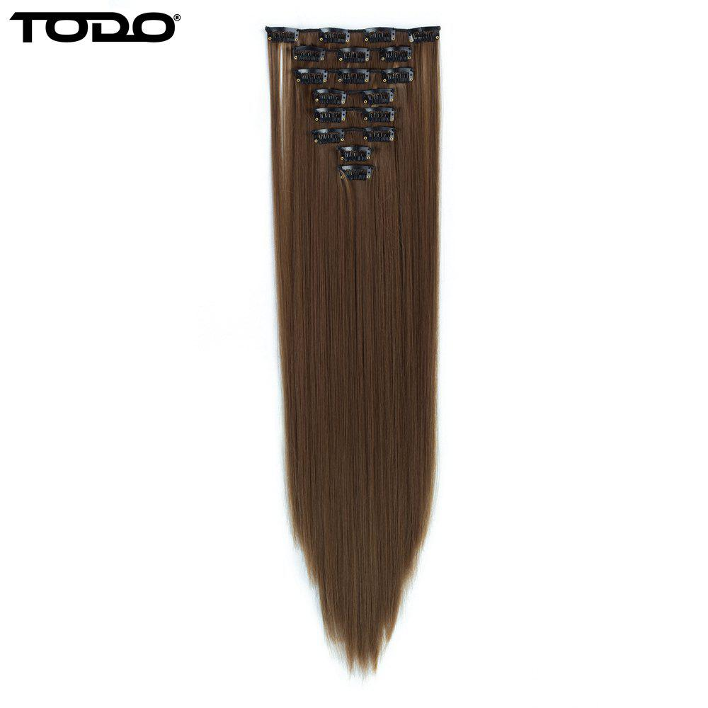 Todo Straight Wig 8-piece 18-clip Hair ExtensionHAIR<br><br>Size: 22INCH; Color: LIGHT BROWN;