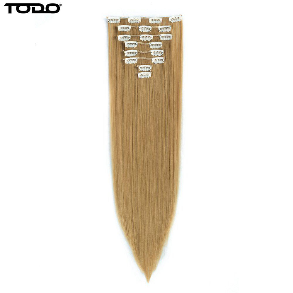 Todo Straight Wig 8-piece 18-clip Hair ExtensionHAIR<br><br>Size: 22INCH; Color: BLONDE MIXED 613/27#;