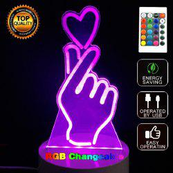 Gesture Than Heart 3D LED Night Light Touch Table Desk Lamp -
