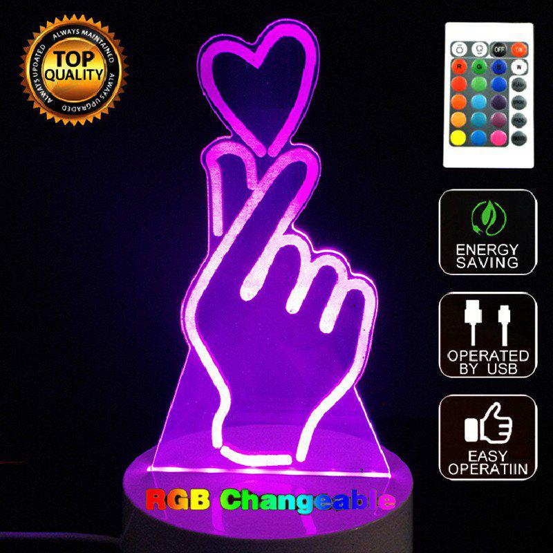 Affordable Gesture Than Heart 3D LED Night Light Touch Table Desk Lamp