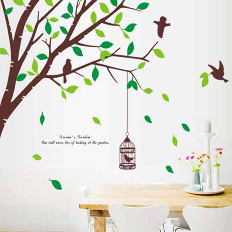 Tree Birds Fresh Green Leaves Mural Decal Living Room Wall StickerHOME<br><br>Size: 120 X 90CM; Color: MIX COLOR;