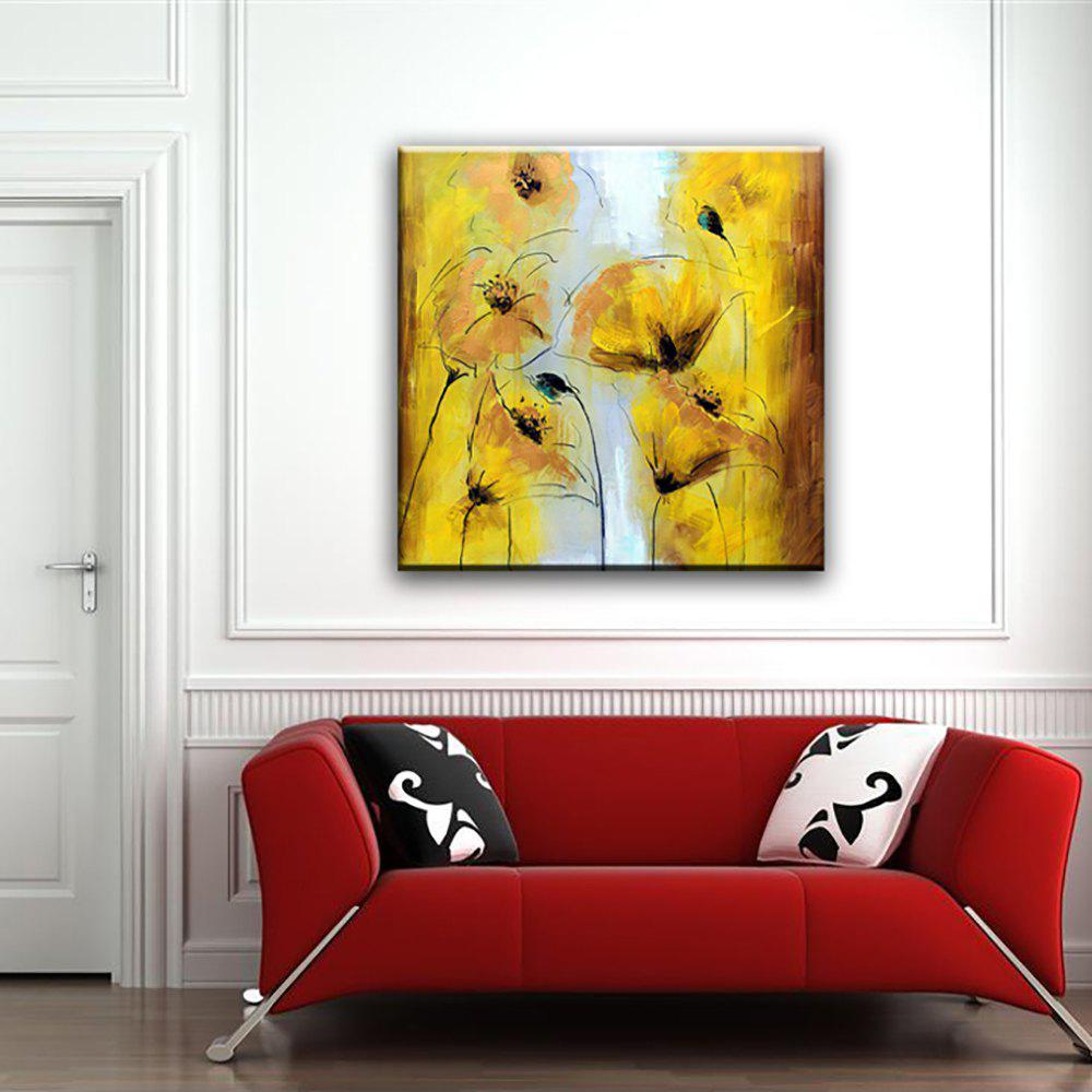 Yellow/black 32 X 32 Inch (80cm X 80cm) Yhhp Hand Painted Flowers ...