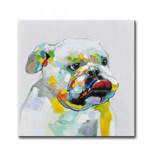 YHHP Hand Painted Abstract Dog Decoration Canvas Oil Painting -