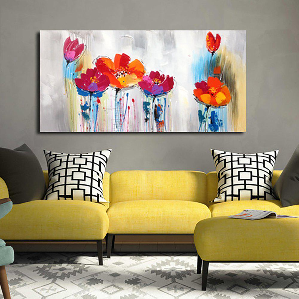 YHHP Hand Painted Abstract Art Flowers Decoration Canvas Oil PaintingHOME<br><br>Size: 39 X 19 INCH (100CM X 50CM); Color: COLORMIX;