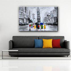 YHHP Hand Painted Abstract Street View Decoration Canvas Oil Painting -