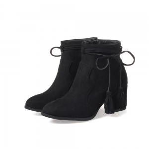 Fashion Womens Pointed Toe Chunky Heel Tassels with Zip Ankle Boots - BLACK 39