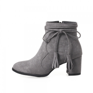 Fashion Womens Pointed Toe Chunky Heel Tassels with Zip Ankle Boots - GRAY 39
