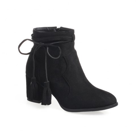 Shops Fashion Womens Pointed Toe Chunky Heel Tassels with Zip Ankle Boots - 39 BLACK Mobile