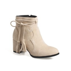 Fashion Womens Pointed Toe Chunky Heel Tassels with Zip Ankle Boots -