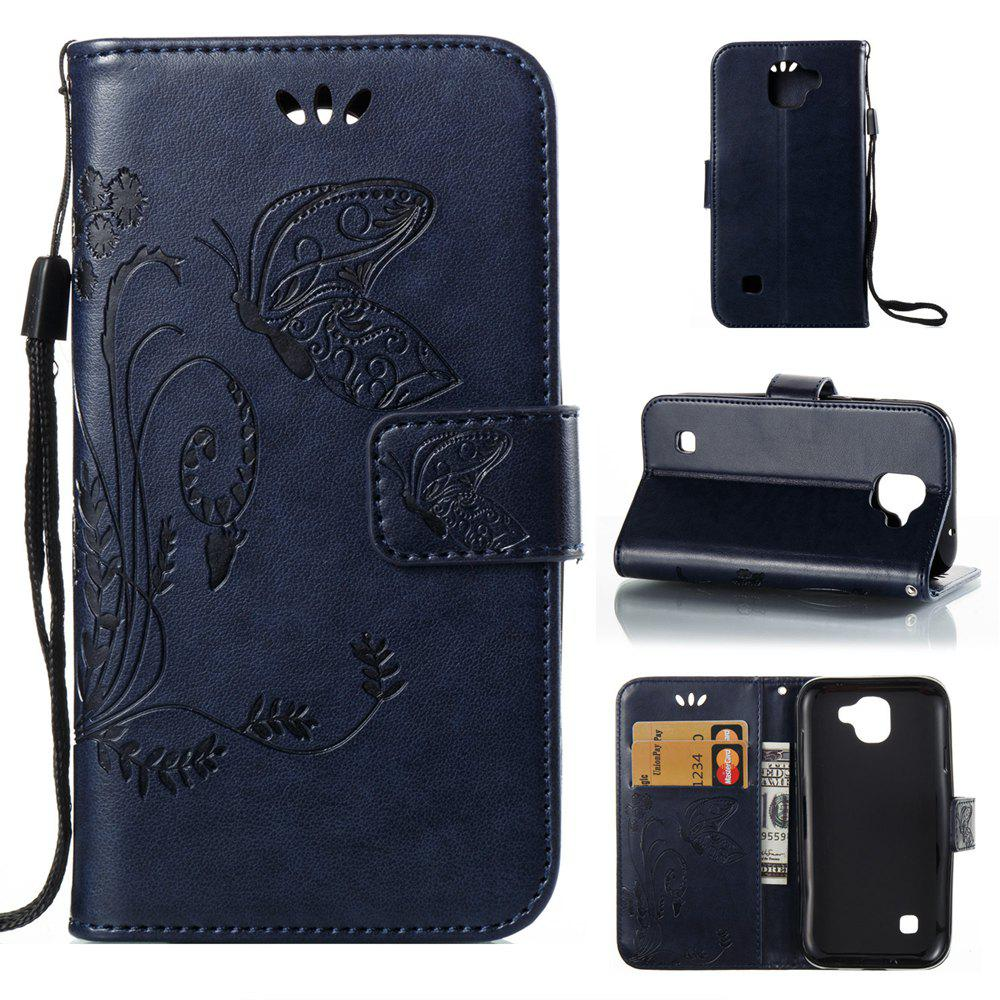 Online Wkae Flowers Embossing Pattern Pu Leather Flip Stand Case Cover for Lg K3 2017
