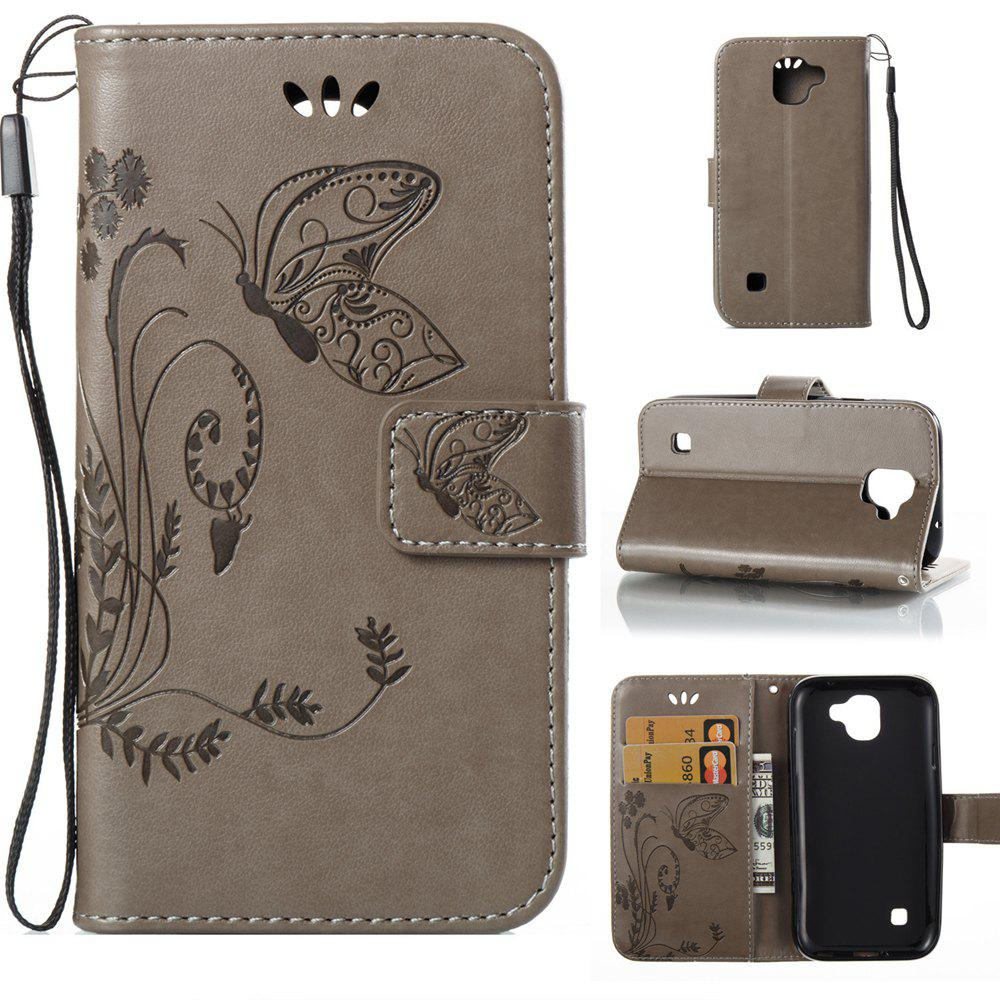 Outfit Wkae Flowers Embossing Pattern Pu Leather Flip Stand Case Cover for Lg K3 2017