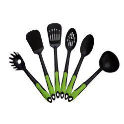 6-piece Nylon Non-stick Slotted Spatula Spoon Heat-resistant Kitchen Cooking Utensil Set - BLACK AND GREEN