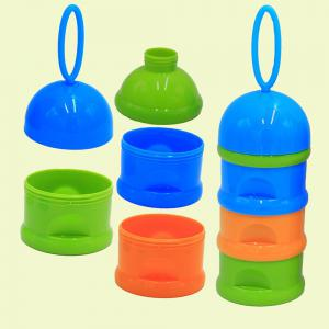 Baby Milk Powder Storage Three Layered Colorful Multi Functional Baby Product - CORNFLOWER