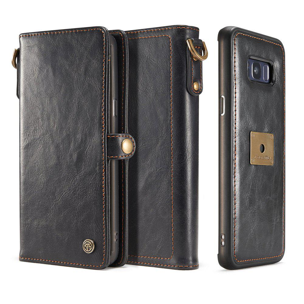 Pu Leather Wallet Phone Case Protective Folio Flip Cover with Removable Hand Straps Case for Samsung Galaxy S8HOME<br><br>Color: BLACK; Features: Anti-knock,Dirt-resistant,Vertical Top Flip Case,With Credit Card Holder; Material: Metal,PU Leather,TPU; Style: Solid Color;