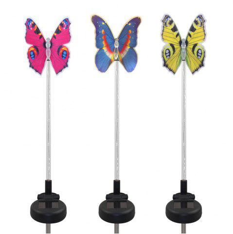 Latest 3PCS Solar Fiber Optic Color-changing Butterfly Garden Stake Light BLACK AND SILVER