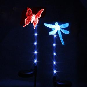 2PCS Solar Color-changing Butterfly Garden Stake Light - BLACK AND SILVER
