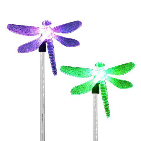 Fancy 2PCS Solar Color-changing Dragonfly Outdoor Garden Stake Light - BLACK AND SILVER  Mobile