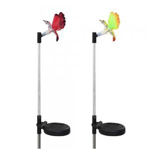 2PCS Solar Fiber Optic Color-changing Garden Stake Light - Hummingbird - BLACK AND SILVER