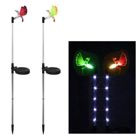 Fashion 2PCS Solar Fiber Optic Color-changing Garden Stake Light - Hummingbird BLACK AND SILVER