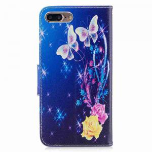 Yellow Butterfly Painted Pu Phone Case foriPhone 7 Plus -
