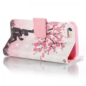 Plum Tree Girl 3D Painted Pu Phone Case for iPhone 5S / SE -