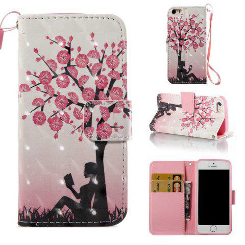 Sale Plum Tree Girl 3D Painted Pu Phone Case for iPhone 5S / SE