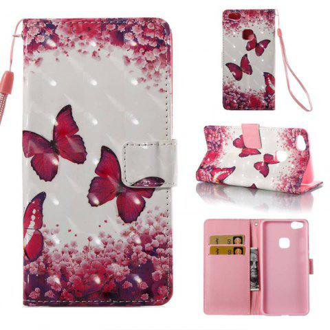 Outfits Rose Butterfly 3D Painted Pu Phone Case for Huawei P10 Lite