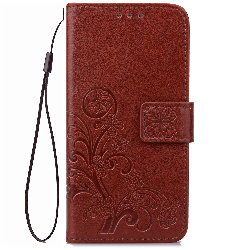 Outfit Yc Lucky Clover Holster Leaf Card Lanyard Pu Leather for HUAWEI Honor 8