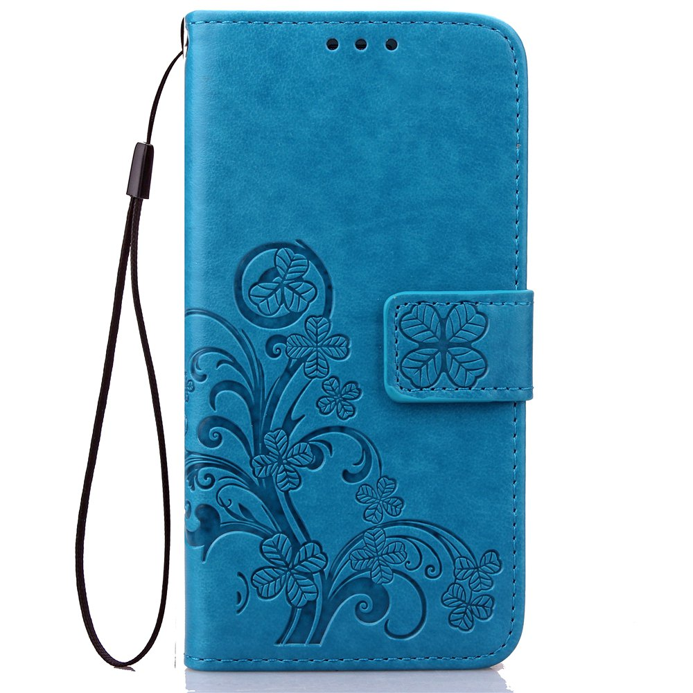 Chic Yc Lucky Clover Holster Leaf Card Lanyard Pu Leather for HUAWEI Honor 8
