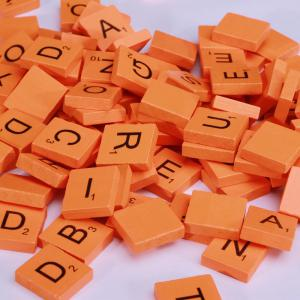 100 Pcs Uppercase Wooden Scrabble Tiles Crafts Wood Alphabets for Kids -